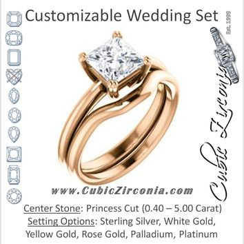 CZ Wedding Set, featuring The Venusia engagement ring (Customizable Princess Cut Solitaire with Thin Band)