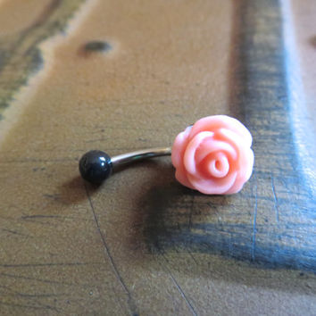 Rose Bud Belly Button Ring Coral Pink Black Flower Floral Rosebud Navel Jewelry Piercing Bar Barbell