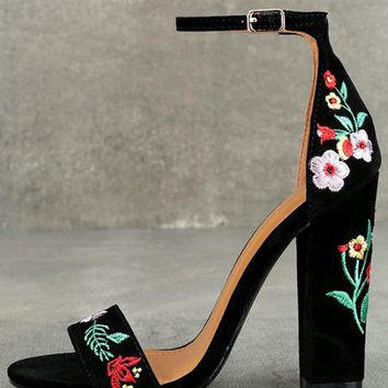 Suri Black Embroidered Ankle Strap Heels