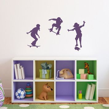 Girl Skateboarder Wall Decal - Set of Three Skateboard - GIRL Bedroom Wall Sticker