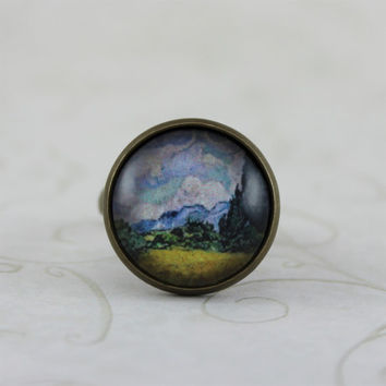 Wheat Field with Cypresses by Vincent Van Gogh Ring, Art Jewelry, Adjustable Ring, Antique Bronze, Vintage Style Ring, Impressionism
