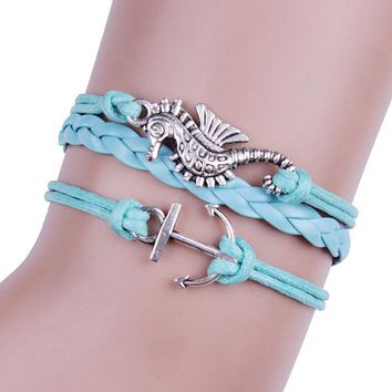 Hippocampus Anchors Infinity Leather Cute Charm Bracelet Bronze DIY