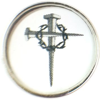 Cross Of Nails With Crown Of Thorn Religious Religion Christ Lord Jesus 18MM - 20MM Snap Charm New Item