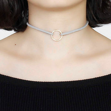 8SEASONS Hot Sale Women Jewelry Gray Velvet Suede Double Layer Choker Necklace Gold Plated Circle Pendant 33cm long, 1 Piece