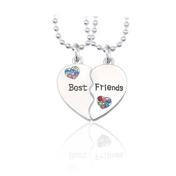 Trendy Best Friends Pendant Necklace Women Colorful Rhinestone Love Heart Bff Necklaces Pendants Silver Friendship Jewelry Colar