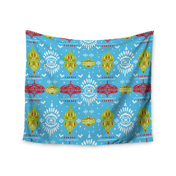 "Miranda Mol ""Deco Row Blue"" Yellow Red Wall Tapestry"