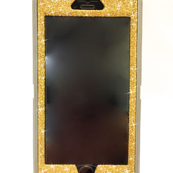 iPhone 6 Plus OtterBox Defender Series Case Glitter Cute Sparkly Bling Defender Series Custom Case  gray / yellow gold