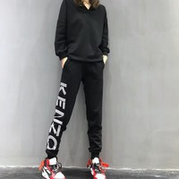 """Kenzo"" Women Casual Fashion Letter Long Sleeve V-Neck Trousers Set Two-Piece Sportswear"