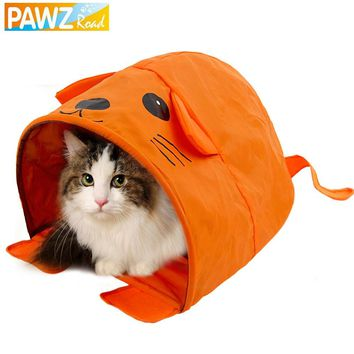 PAWZRoad Pet Cat Toys Cute Mouse Design Cat Tunnels Pet Toy More Fun Orange Color Tent Easy House for Pet Fashion Small Dog Beds