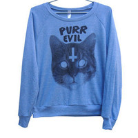 Killer Condo — Purr Evil Cat Women's Raglan | Black on Light Blue