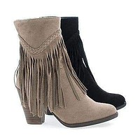 Heather38 By Breckelle's, Western Round Toe Stacked Heel Fringe Ankle Boots