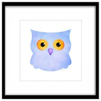 Blue Owl Nursery Download, Printable Poster, Kid's Art, Baby's Room