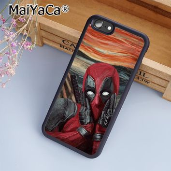 MaiYaCa Deadpool The Scream Art Phone Case Cover for iPhone 5 5s 6 6s 7 8 Plus X soft case for samsung S6 S7 S8 edge Plus cover