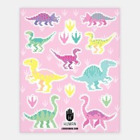 Cute Pastel Pixel Dinosaur Stickers