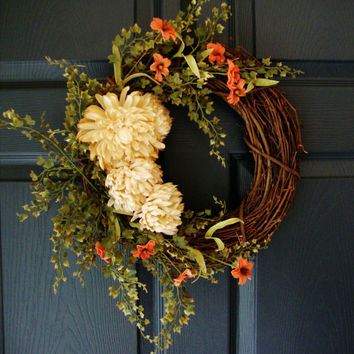 Fall Tea Stained Mum Wreath with Maidenhair Fern - Fall Door Wreaths - Autumn Wreath - Rustic Door Wreath - Wall Decorations - Porch Decor