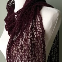 Hand knit lace scarf, purple merino, mohair lace scarf, lace long scarf, -urplevlace scarf.