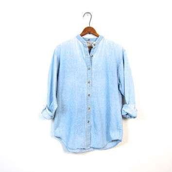 Washed Out Faded Denim Shirt Collarless Button Up Boyfriend Jean Shirt Chambray Minimal Boho Tomboy Slouchy Unisex Coed Vintage Small