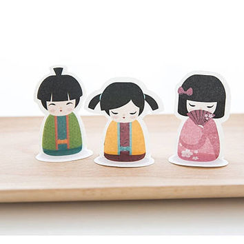 kokeshi dolls Kimono doll sticky note Kawaii Japanese doll retro girl national costume ethnic paper memo mini doll cute Japanese girl decor