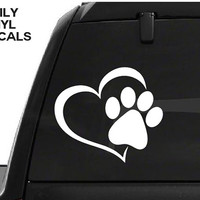 Paw Print Heart Decal - Paw Prints Love Vinyl Sticker - Love Your Pet Dog Cat Paws Etc. *Choose Size & Color*