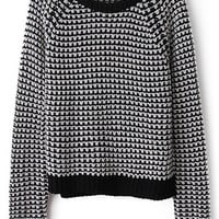 ROMWE | ROMWE Contrast Trimming Houndstooth Print Jumper, The Latest Street Fashion