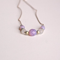ANNETTE necklace // violet, white and moss Czech glass beads, silk, sterling silver