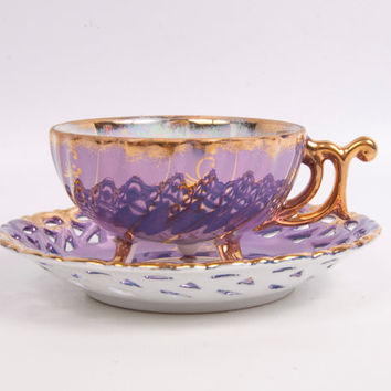 Nippon Yoko Boeki Purple Teacup and Saucer Lusterware Gold Leaf Trim Reticulated Saucer Iridescent Demitasse Cup Hand Painted