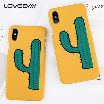 Lovebay Cartoon Cactus Painted For iPhone 6 6s 7 8 Plus X Phone Case Ultra  Thin Hard PC Fundas For iPhone X Phone Cover Shell