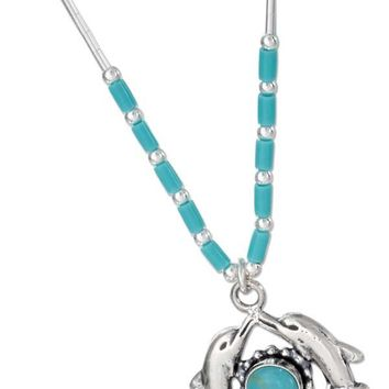 "Sterling Silver 16"" Liquid Silver And Simulated Turquoise Double Dolphin Necklace"