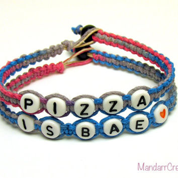 Pizza is Bae Bracelets, Set of Two, Tutti Frutti Hemp Jewelry for Pizza Lovers