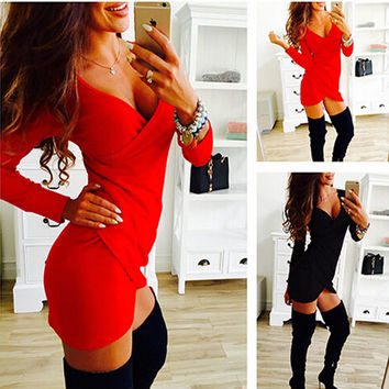 Hot Sexy New Women Summer Dress Long Sleeve Cross Draped Ladies Night Club Dress Bodycon Irregular Mini Dresses Vestidos