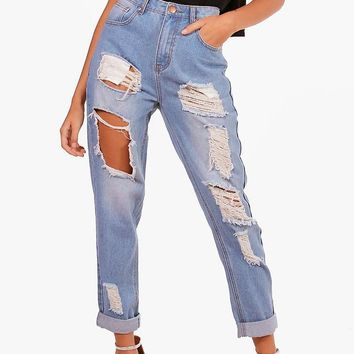 High Waist Distress Mom Jeans | Boohoo