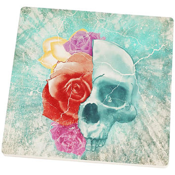 Halloween Distressed Skull and Flowers Square Sandstone Coaster