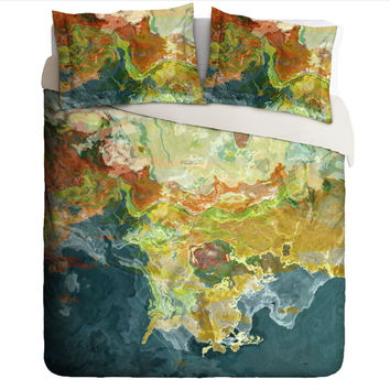 Duvet Cover with abstract art, king or queen in teal, orange and green, The Finer Things