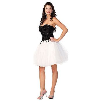 CLEARANCE - Black/White Party Dress Tulle Sweetheart Neck Corset Bodice Sequin (Size Small)