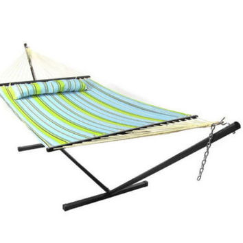 Hammock With Stand & Pillow Combo Quilted Double Fabric Comfortable Durable New