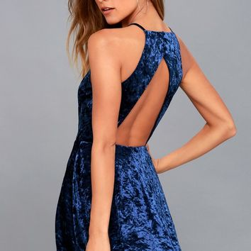 Dancing Queen Navy Blue Velvet Backless Skater Dress