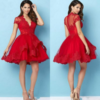Red Lace Appliques Short Cocktail Dress 2017 Deep V-Neck Short Sleeve Customize Special Occasio Party Dresses Cocktail Gowns