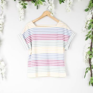 Vintage Pastel Striped Blouse