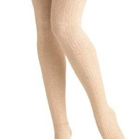 Delightfully Warm Tights in Oatmeal
