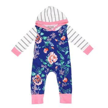 Autumn Kids Baby Stripe Rose Long Sleeve Hooded Cotton Casual Romper Hooded Romper Jumpsuit One Pieces Clothing
