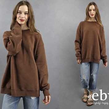 Brown Sweatshirt Oversized Sweatshirt Normcore Sweatshirt 90s Sweatshirt Plain Sweatshirt 1990s Fashion XL Comfy Sweatshirt Soft Sweatshirt