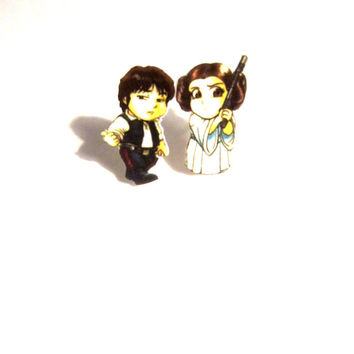 chibi han solo and princess leia earrings, cute, kawaii geek, geekery, geek earrings, geek fashion