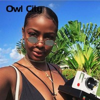 Owl City Vintage Sunglasses Women Small Round Sun Glasses Retro Ladies Sunglass Black Yellow Color Lens Eyewear Brand Designer