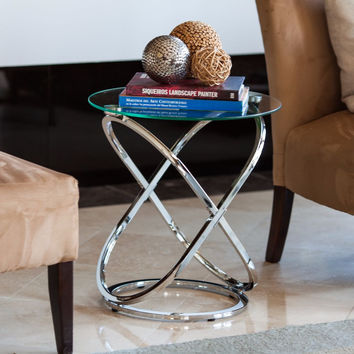 DanyaB Galaxy Chrome and Tempered Glass Round End Table