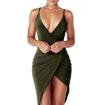 Slit Bandage Midi Club Dress  Women's Sexy Deep V Neck Sleeveless Spaghetti Strap Dress