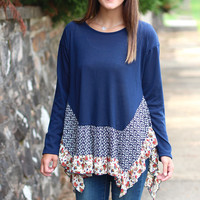 Floral Ruffles Sweater {Navy}