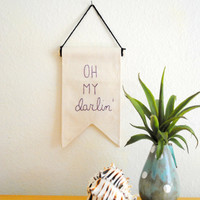 OH MY DARLING - Mini Canvas Banner - 6.25 x 4.25 inches - purple, plum