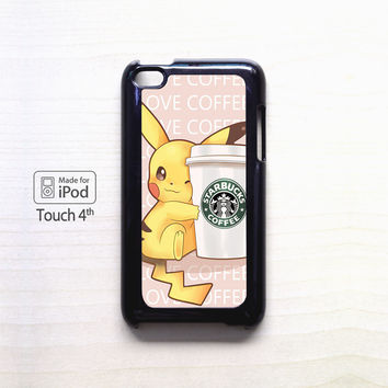 Pikachu and the Starbuck Coffe for iPod 4/ iPod 5 cases