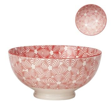 "Torre & Tagus Kiri Porcelain 8"" Large Bowl - Red with Red Trim"
