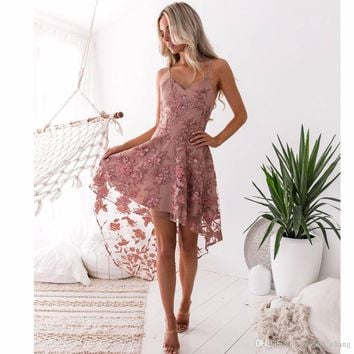 Irregular floral embroidery dress Women sleeveless pink lace dress Summer bohemian beach dress Spaghetti strap vestidos